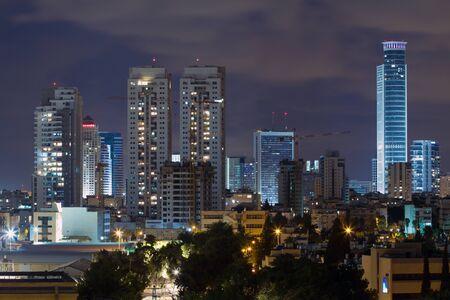 Ramat Gan city at night. Central business district.
