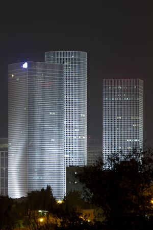Azrieli center at night. Tel Aviv. Israel