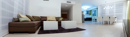 Living room with furnishings in a new house.