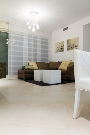 white wood floor: Living room with furnishings in a new house.