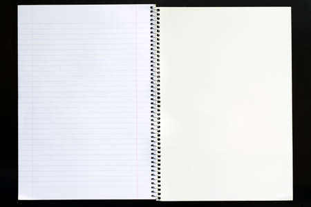 Open view of a lined blank notepad