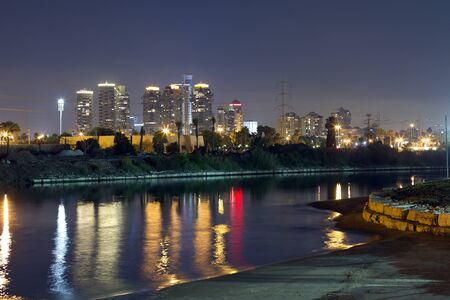 Tel Aviv city and river at the night Stock Photo - 11873544