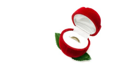 jeweller: Red box for jeweller ornaments and a gold ring