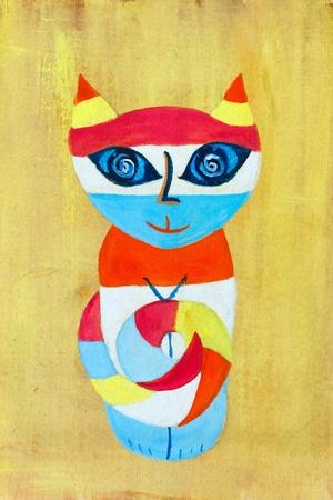 arte moderno: Pintura de la acuarela de un gato Foto de archivo