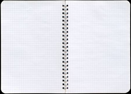ring binder: Notepad with a spiral binding and checkered sheets.