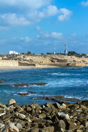 Caesarea´s National Park. Caesarea sea port, Israel. photo