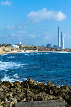 caesarea: Power plant near Caesarea in Israel