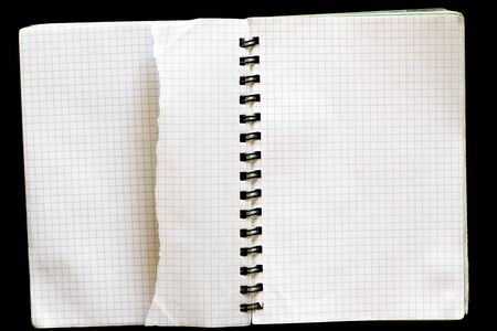 Notepad with a torn sheet photo