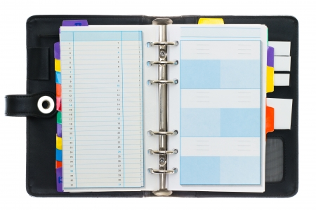 diary page: Personal black organizer isolated on white.