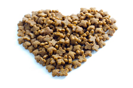 Pet food heart. Pet food in the form of heart. photo