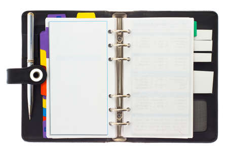 organizer page: Personal black organizer with pen.