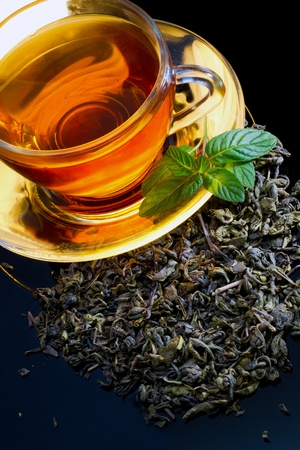 english breakfast tea: A cup of english green tea with mint