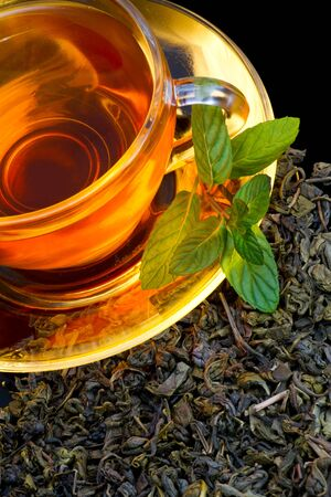 english tea: A cup of english green tea with mint