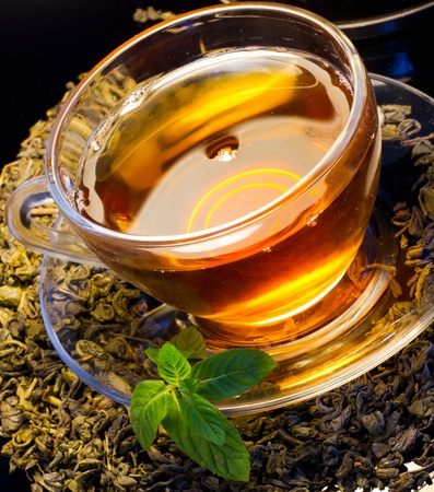 english ethnicity: Cup of english green tea with mint