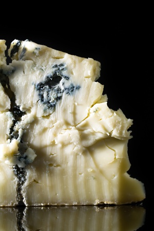 close up food: Piece gorgonzola cheese