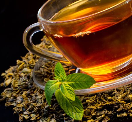 british foods: Cup of english green tea with mint