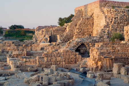 famous place: The ruins of the ancient city of Caesarea   Israel Stock Photo