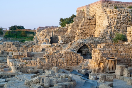 The ruins of the ancient city of Caesarea   Israel Stock Photo