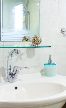 Interior design of a bathroom photo