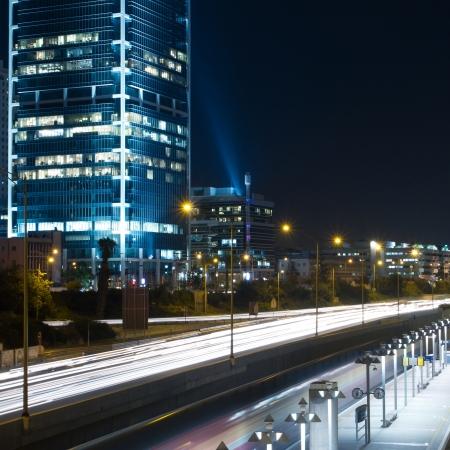 Tel Aviv at night  Traffic road photo