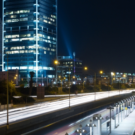 multiple exposure: Tel Aviv at night  Traffic road