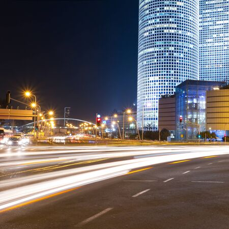 Tel Aviv at night  Azrieli center  Stock Photo
