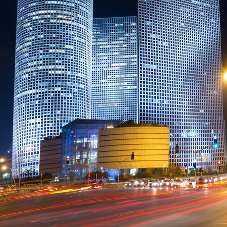 azrieli: Tel Aviv at night  Azrieli center  Stock Photo