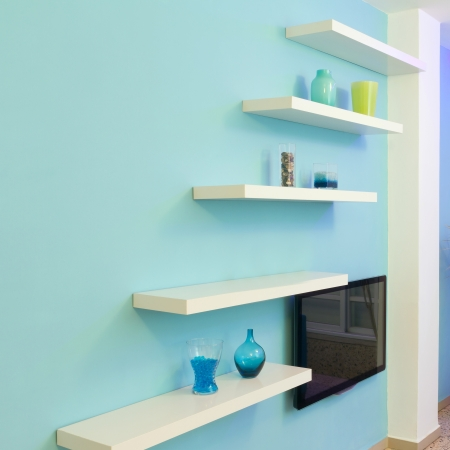 Shelves Interior design in a new house photo