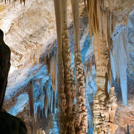 limestone caves: Stalactite stalagmite cavern. Stalactite cave in Israel