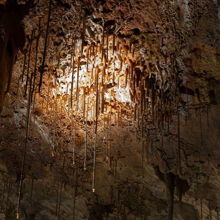 Stalactite stalagmite cavern. Stalactite cave in Israel photo