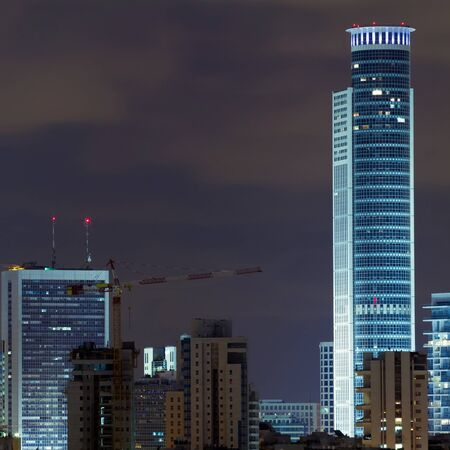 ramat aviv: Ramat Gan city at night. Central business district.
