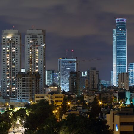 Ramat Gan city at night. Central business district. Stock Photo - 14438350