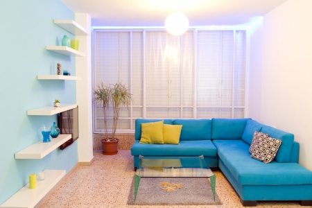 living room interior: Interior design in a new house. Different colors of lighting Stock Photo