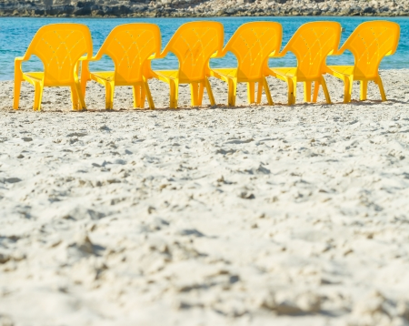 Sea and chairs on the beach photo