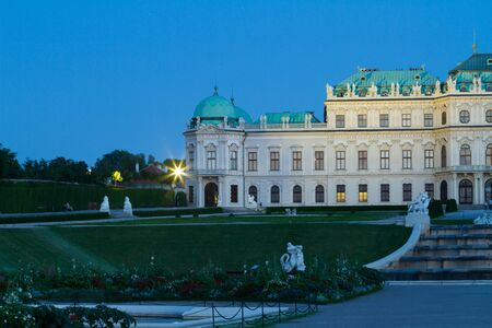 Belvedere Palace in Vienna at night. Austria