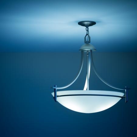 新しい家で近代的な天井ランプ 写真素材
