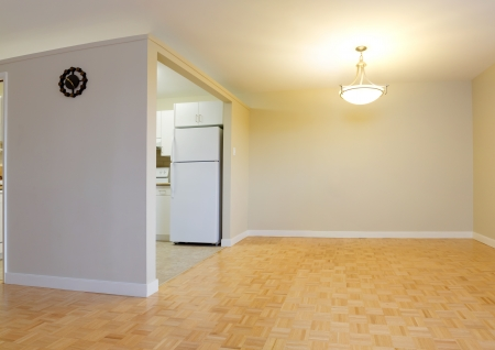 Empty Living Room with kitchen  in a new apartment photo