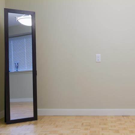 espelho: Vazio Sala com espelho em um novo apartamento