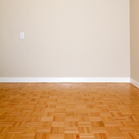 floor lamp: Empty Living Room in a new apartment Stock Photo