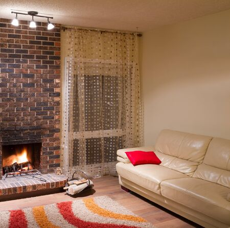 Interior design of living room in a new house with fireplace Stock Photo - 16116439