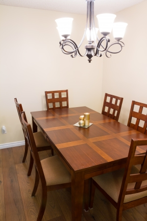 dining room: Interior design of dining room in a new house Stock Photo