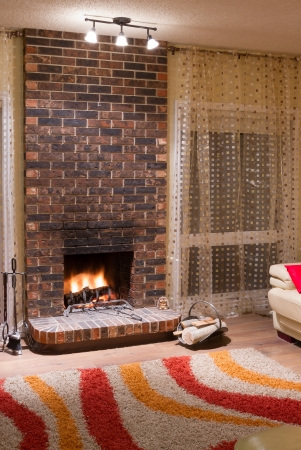 Inter design of living room in a new house with fireplace Stock Photo - 16126350