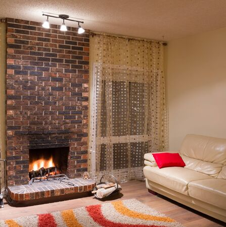 Interior design of living room in a new house with fireplace Stock Photo - 16126349