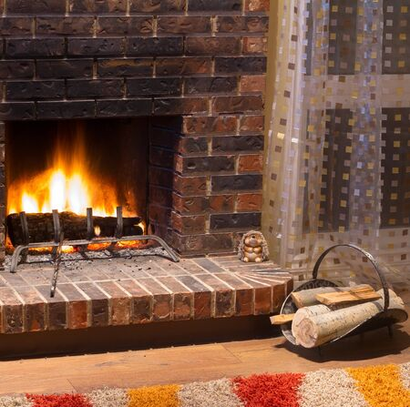 Interior design of living room in a new house with fireplace Stock Photo - 16382927