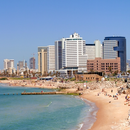 텔 아비브 해변 파노라마 자파 이스라엘 스톡 콘텐츠