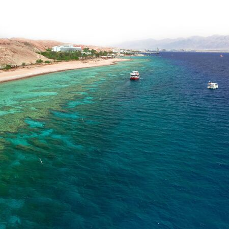 Panorama coastline of Red sea from coral reef  photo
