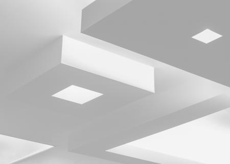モダンなデザインの天井と照明 写真素材
