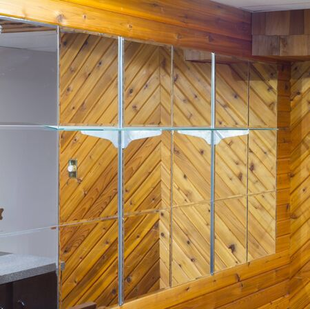 Basement with mirror and wood walls Stock Photo - 16849898