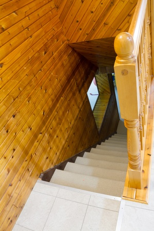 Beautiful foyer looking down hardwood stairs in new house Stock Photo - 16880346
