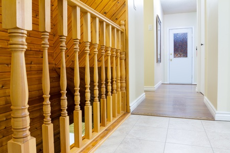 staircases: Beautiful foyer and hardwood stairs in new house